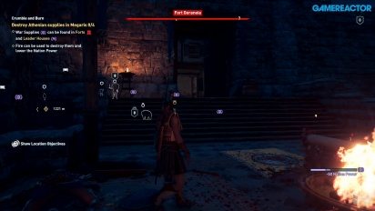 Assassin's Creed Odyssey - Athenian Fort at Night in Megaris Gameplay